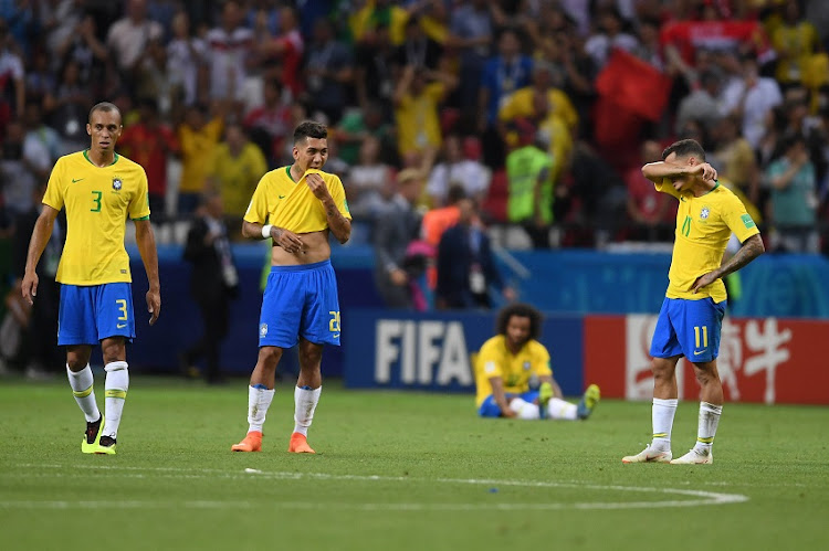 Brazil players look dejected following the 2018 FIFA World Cup Russia Quarter Final match between Brazil and Belgium at Kazan Arena on July 6, 2018 in Kazan, Russia.