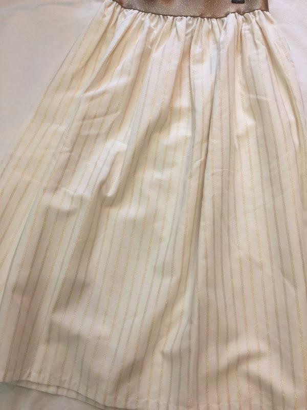 Long Skirt Lurex Stripes Pearl