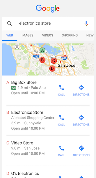 similarly ads that feature your business location may also appear when users make similar searches on the google maps mobile app