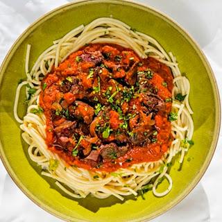 Jack Monroe's chicken liver spaghetti bolognese
