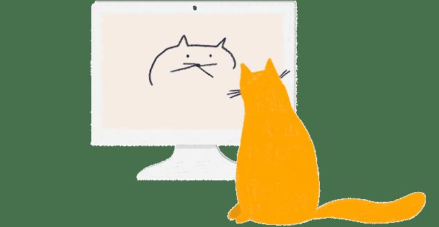 Un gato de verdad mira un dibujo de un gato en la pantalla de un ordenador, supuestamente contemplando su propia imagen.
