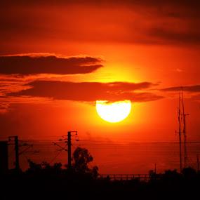 let's call it a day by Ravi Shankar - Landscapes Sunsets & Sunrises ( sunset. orange, sun )