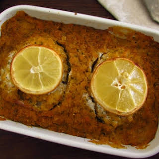 Ling fish in the oven with Portuguese cornbread.