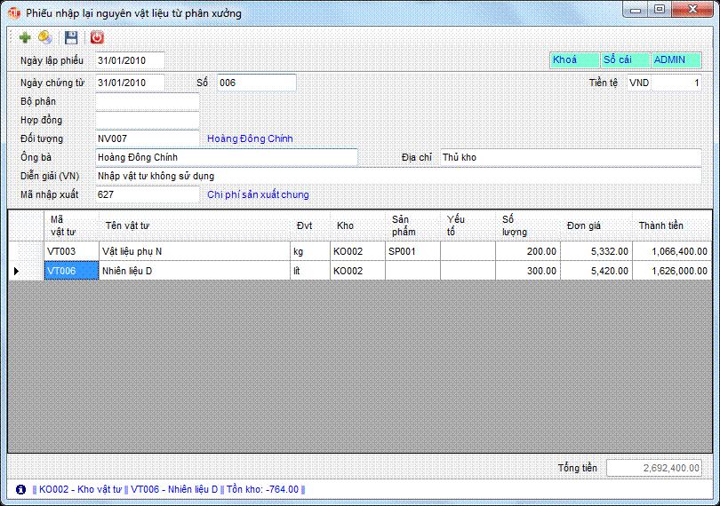 Phiếu nhập lại nguyên vật liệu từ phân xưởng phần mềm kế toán 3tsoft