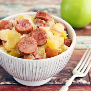 Slow Cooker Sauerkraut and Sausage with Apples and Potatoes.