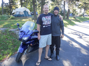 Photo: This is Marc.  He rode his motorcycle from Quebec and was in the site next to us.  We all really enjoyed getting to know him, especially Natalie and Noah.  He let me borrow his motorcycle for a few hours one day.  I had an AWESOME ride on the Blue Ridge Mountain Parkway.