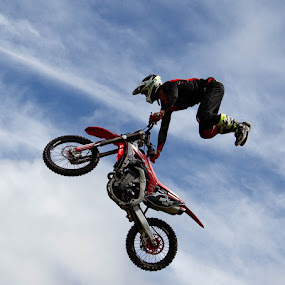 Hold on tight by Andrew Lancaster - Transportation Motorcycles ( sky, motorbike, stunt, action, trick, rider, sport )