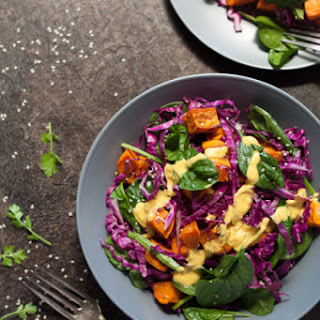 Red Cabbage Salad with Mustard Seed Yogurt Dressing