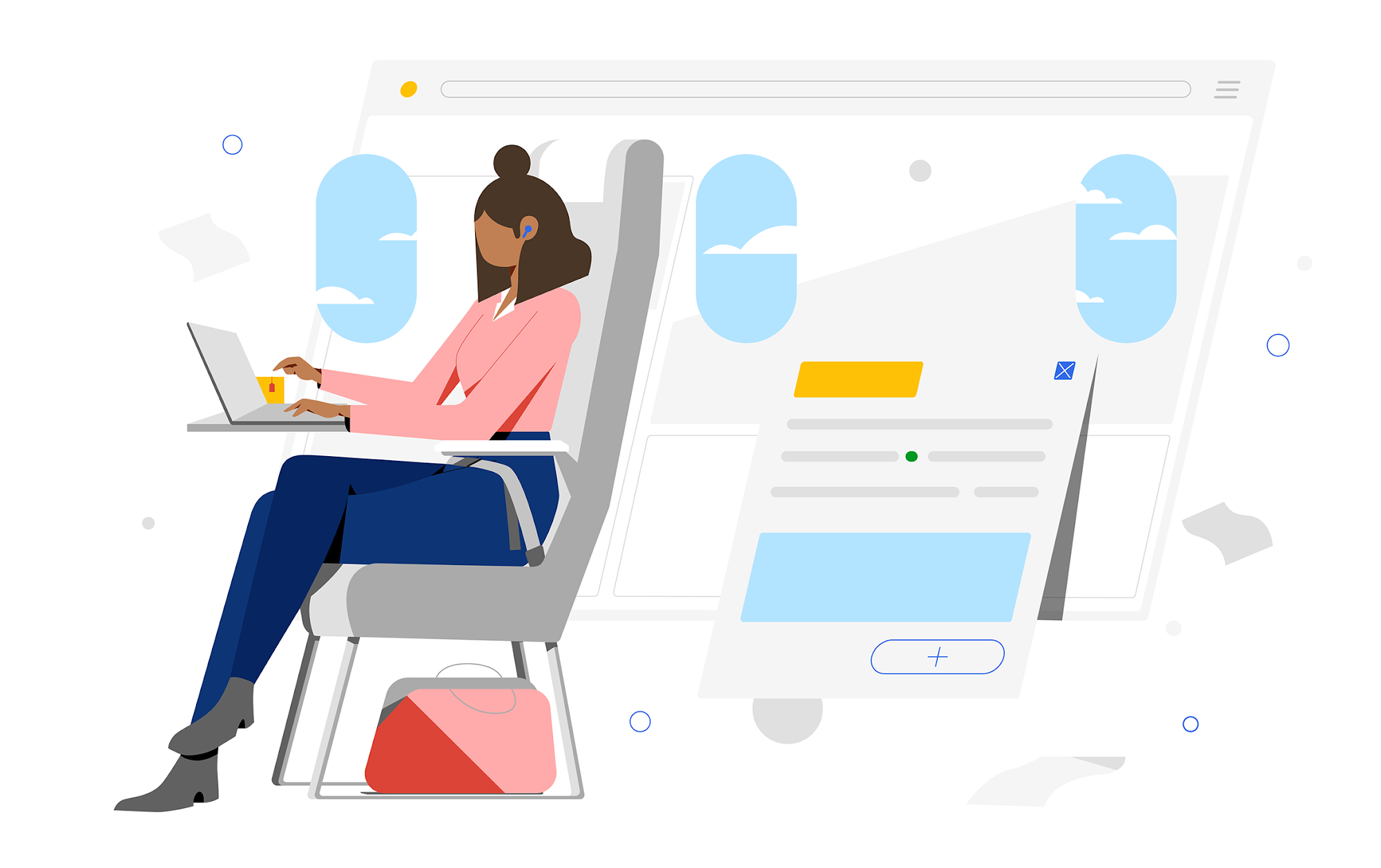 Woman seated on airplane works on her laptop