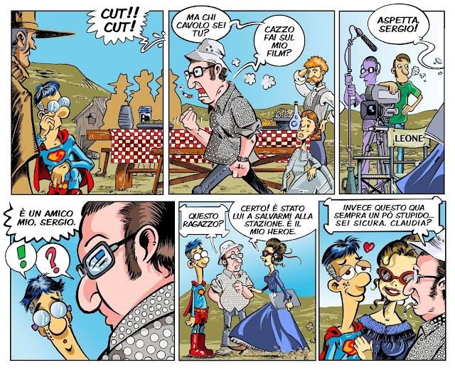 En el cómic, Superjoven se topa con el mismísimo Sergio Leone.