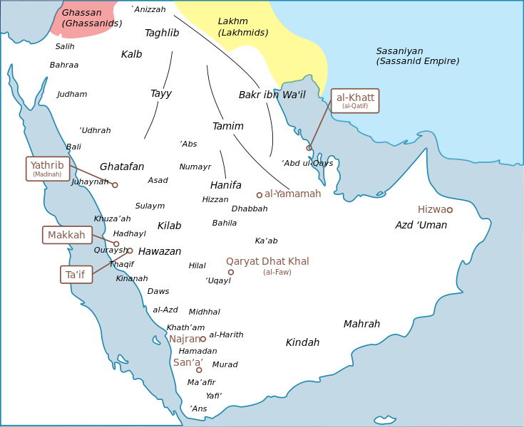 Map of the Arabian peninsula with labels for tribal divisions and the major cities.