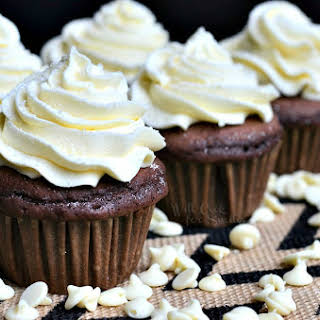 Double Chocolate Cupcakes (with White Chocolate Cream Cheese Frosting).