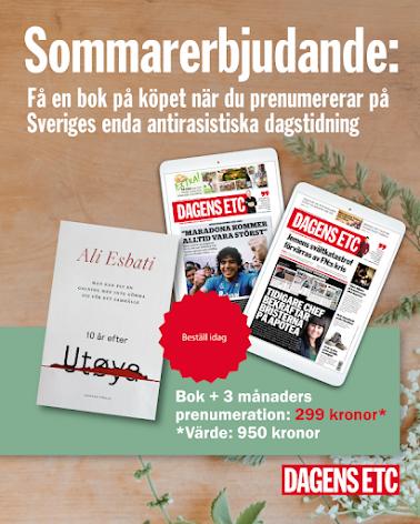 """Sommarerbjudande: Dagens ETC 3 mån digital + boken """"Man kan fly en galning men inte gömma sig för ett samhälle"""""""