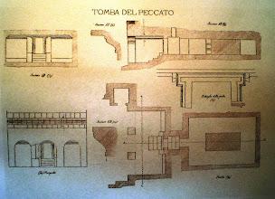 Photo: Fig. 2. Pianta, prospetto, sezione, dettaglio della porta Tomba del Peccato, Faleri (1881-97).
