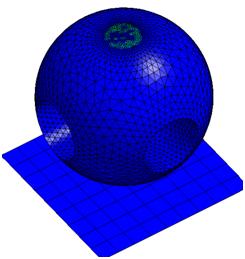 ANSYS Добавленная масса шарика (элементы, не закрашенные синим на верхушке, имеют большую плотность)