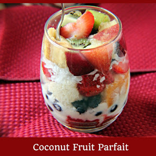 Coconut Marscapone Fruit Parfait…with Red Velvet and Coconut White Cake.
