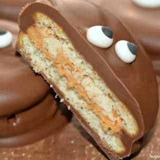 Chocolate Dipped Crackers Stuffed With Peanut Butter Truffle Filling.