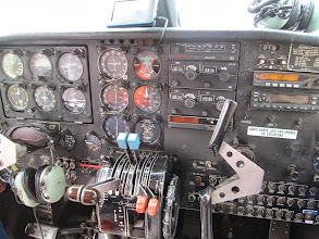 Photo: Islander Twin cockpit. I'm pretty sure the GPS on the dashboard and the radio were the only solid-state electronics.