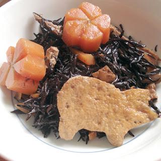 Stewed Hijiki Seaweed With Carrots And Fried Tofu.