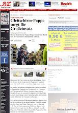 Photo: Berichte von Berliner Tageszeitungen über den Absturz eines motorisierten Gleitschirmmodells im M 1:2,5 in Berlin.