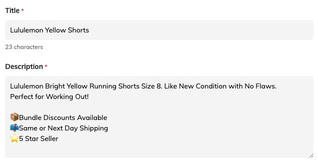 Lululemon short and effective listing