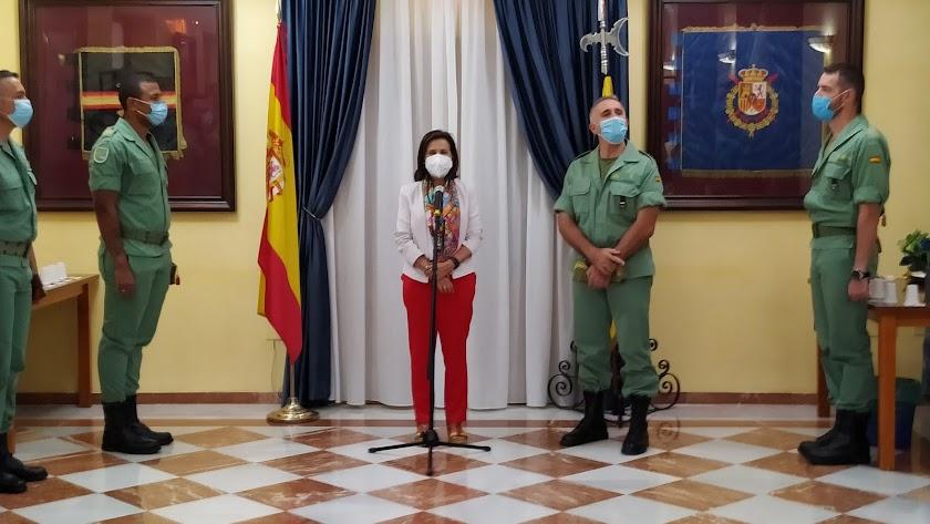 Margarita Robles durante su intervención en la visita