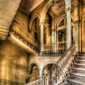 decay stairs by Marlou Nijpels - Buildings & Architecture Decaying & Abandoned ( amazing, urban, old, urbex, stairs, villa, staircase, light, shadows, exploring, pornstairs, decay, abandoned )