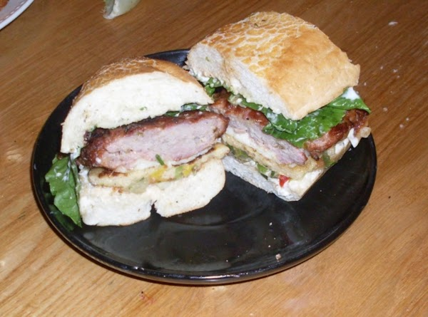 Grill split rolls and then assembls sammies..mayo and dill pickle plank on the chicken...