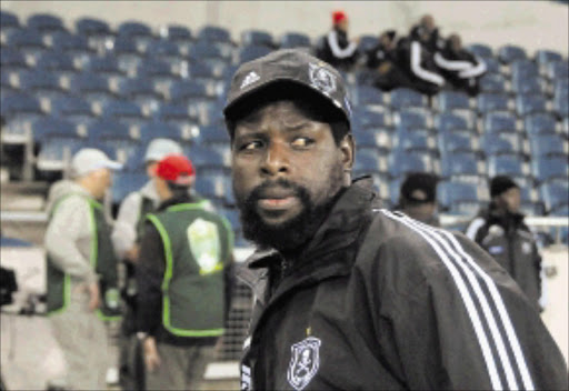 NO NONSENSE: Security guard 'Mbatha', who refused photographer Vathisa Ruselo entry into a mixed zone area at Orlando Stadium. Pic.VATHISWA RUSELO. 02/05/2010. © Sowetan.  02/05/2010. A security guard who calls himself
