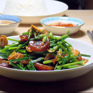 Stir Fry Chinese Chives with Dried Shrimps & Thai Sausage