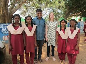 Photo: Sandeep and Nancy with some high school girls -- Allikuzhi.