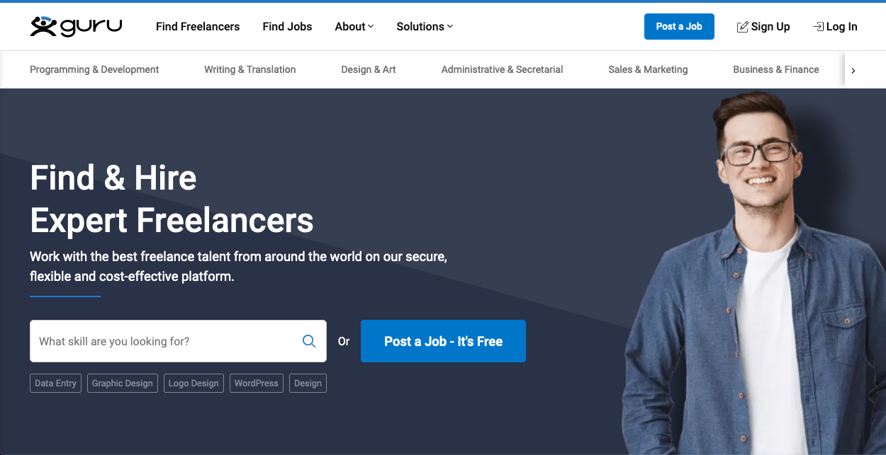 Screenshot of freelancing website: Guru
