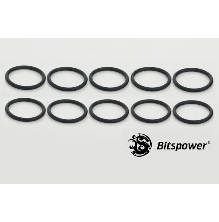 """Bitspower O-ring for 1/4""""BSP gjenger, 10 stk, Sort"""