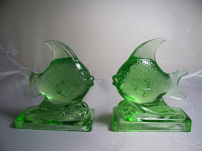 Photo: Glass Fish Figures by Feigl & Morawetz, Libochovice, modelled by Karel Zentner. catalogue number 1815 950g each, 15cm tall. base 13.25cm by 6.75cm The label reads  Ultra crystal Brilliant made in Czechoslovakia