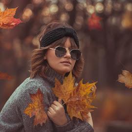 Dana by Dragana Trajkovic - People Portraits of Women ( woman, leaves, model, autumn, girl, colors,  )