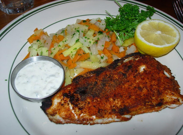 Blackened Alaskan Grilled Halibut With Off The Boat Tartar Sauce Recipe