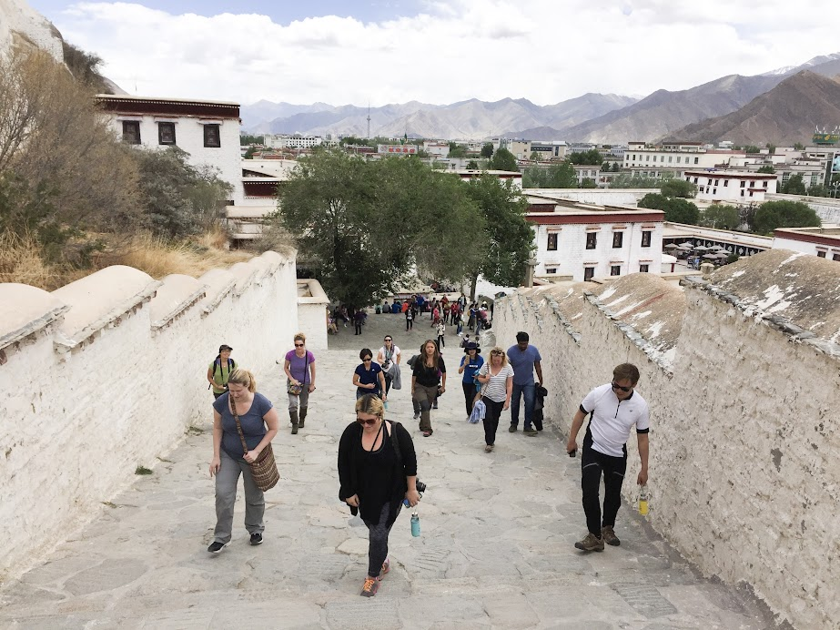Slowly making our way up the stairs to Potala Palace. Slowly because everyone was still adjusting to the elevation.