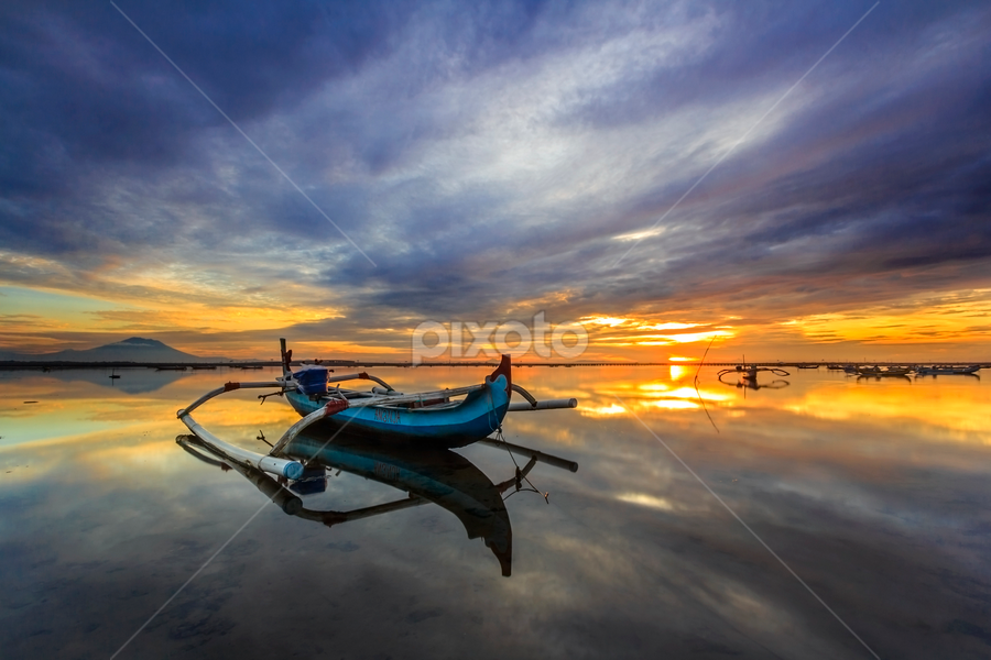 Waiting by Choky Ochtavian Watulingas - Landscapes Waterscapes ( clouds, stranded, seashore, clouds and sea, horizon, cloudy, reflections, seascape, sunrise, boat, sun, skies )