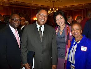 Photo: Wadner Oge (Board of Bar Examiners), Chief Justice Roderick Ireland), Justice Fernande Duffly (SJC), and Professor Margaret Burnham (Northeastern University School of Law).