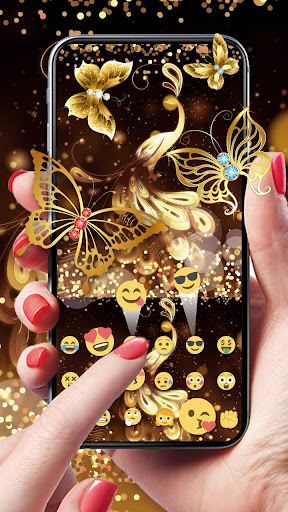 Gold Glitter Butterfly Keyboard screenshots 2