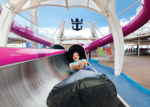 harmony-of-the-seas-ultimate-abyss.jpg - A dad makes it down the not-for-kids-only Ultimate Abyss on Harmony of the Seas.