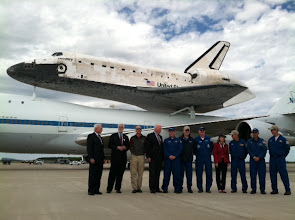 "Photo: The Discovery shuttle flight crew with VIPs: Sen.Patrick Leahy, Smithsonian Secretary Wayne Clough, director of National Air andSpace Museum J.R. ""Jack"" Dailey  Photo by: Malia Rulon"