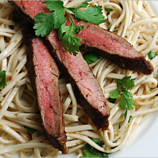 Cumin/Chili Powder Flank Steak with Spicy Sesame Cilantro Noodles