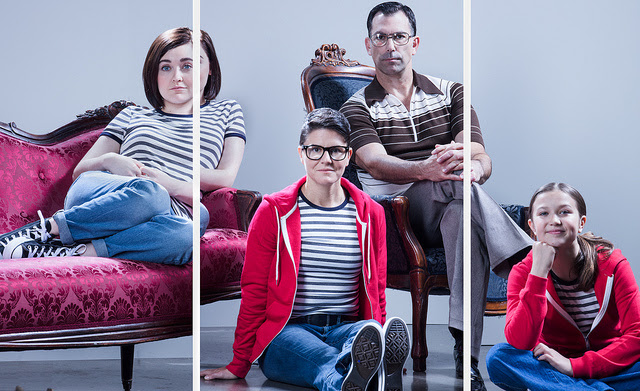 Portland Center Stage: Fun Home Publicity Photo Left to right: Medium Alison (Sara Masterson), Alison (Allison Mickelson), Bruce Bechdel (Robert Mammana) and Small Alison (Aida Valentine) in Fun Home at The Armory. Photo by Kate Szrom
