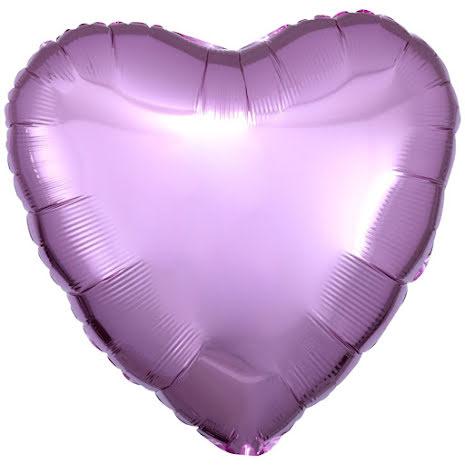 Folieballong, hjärta metallic rosa 43 cm