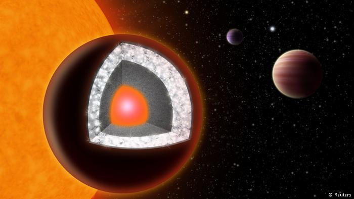 55 Cancri e có bề mặt được bao phủ bởi than chì và kim cương.