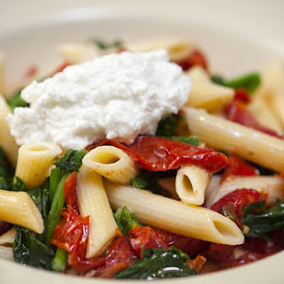Penne With Swiss Chard and Roasted Red Peppers.