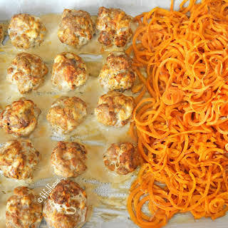 Sheet Pan Turkey Meatballs with Garlic Sweet Potato Noodles (paleo).