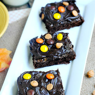 Homemade Reese's Pieces Brownies.