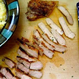 Pan-Seared Pork Chops with Parmesan Polenta.